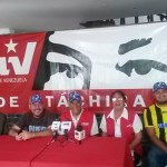 Constituyentista Samuel López vocero en rueda de prensa PSUV Táchira, acompañado por David Vivas, Richard González, Estrella Uribe y Gerardo Barrera